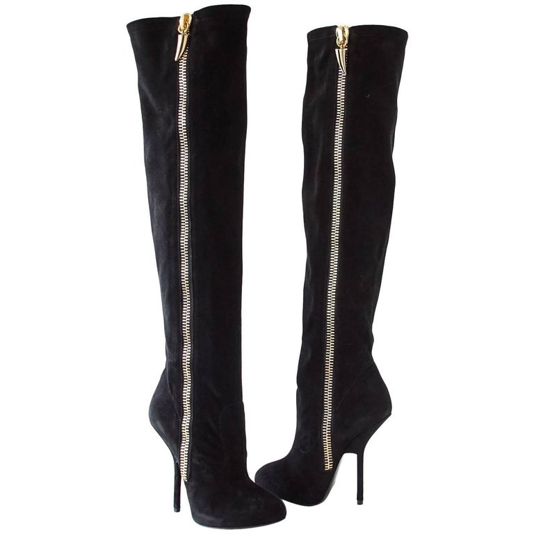 Giuseppe Zanotti Over the Knee Suede Dramatic Boot 37 / 7 New w/ Box
