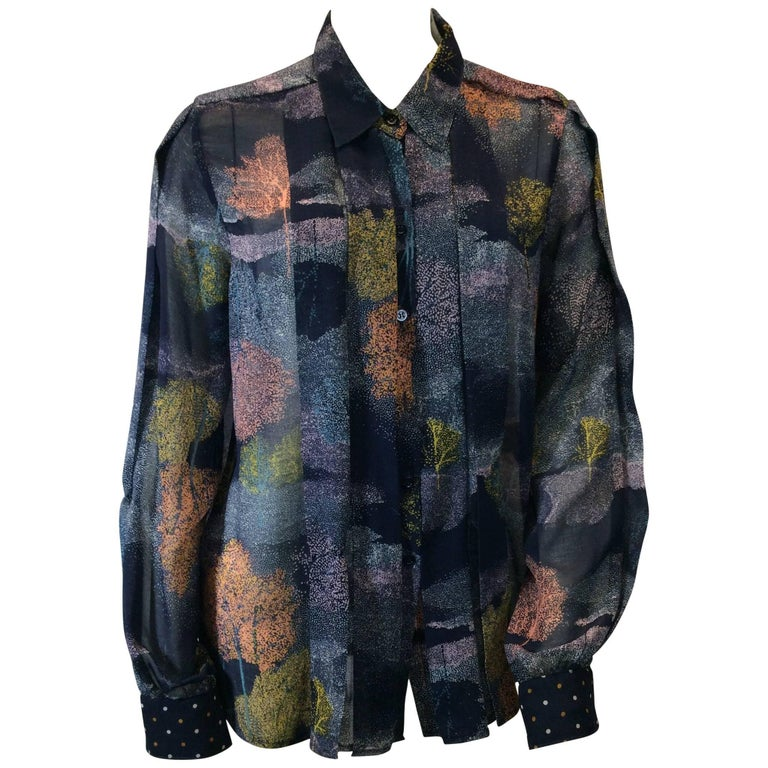 See By Chloe Navy Printed Button Up Blouse For Sale