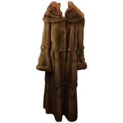 Full Length Tiered Chestnut Sable Fur Coat