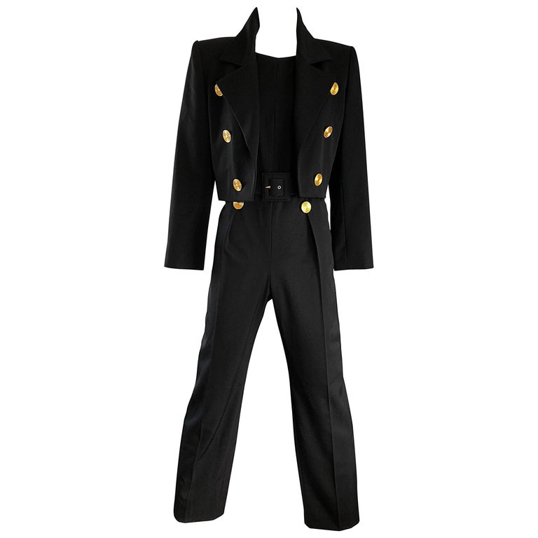 Alexander McQueen for Givenchy Couture Vintage Black Jumpsuit + Cropped Jacket