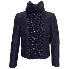 Dsquared Black Jacket With Embellished Front Panel And Mink Collar Sz 2