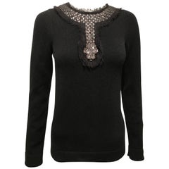 Chanel Black Cashmere Sweater With Jeweled Neckline Sz36 (Us4)
