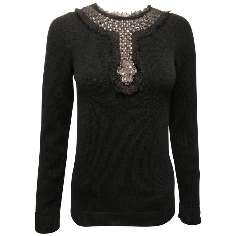 Chanel Black Cashmere Sweater With Jeweled Neckline Sz36 (Us4)