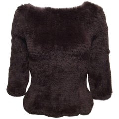Jill Sander Chocolate Brown Rabbit Fur Sweater Sz S