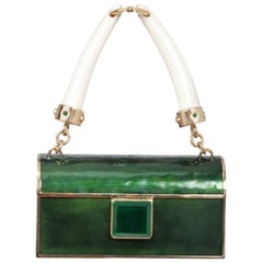 Tom Ford for Yves Saint Laurent S/S 2004 Emerald Metal, Enamel & Horn Handbag