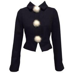 Louis Vuitton Black Wool Jacket With White Mink Pompoms Sz36 (US4)