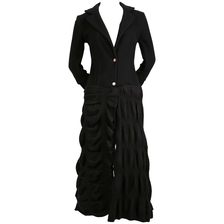 Roberto Cavalli long black coat with puckered wool fabric
