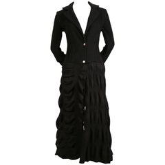 ROBERTO CAVALLI long black coat with puckered wool fabric