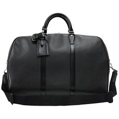 Louis Vuitton Kendall PM Black Taiga Leather Travel Bag + Strap