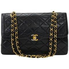Vintage Chanel 2.55 Double Flap Black Quilted Leather Paris Limited Shoulder Bag