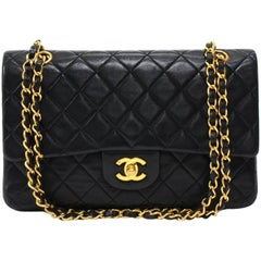 Vintage Chanel 2.55 Double Flap Black Quilted Leather Shoulder Bag