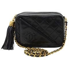 """Vintage Chanel 7"""" Black Quilted Leather Tassel Pochette Shoulder Bag"""