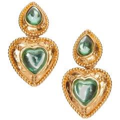 YVES SAINT LAURENT Vintage Clip-on Earrings in Gilt Metal and Light Green Resin
