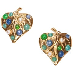 GIVENCHY Leaf Shaped Clip-on Earrings in Gilt Metal, Pearls and Molten Glass