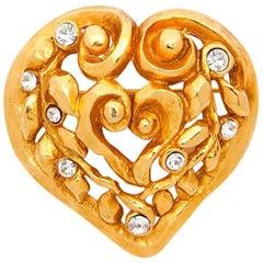 CHRISTIAN LACROIX Heart Brooch in Gilde Metal set with Swarovski Brilliant