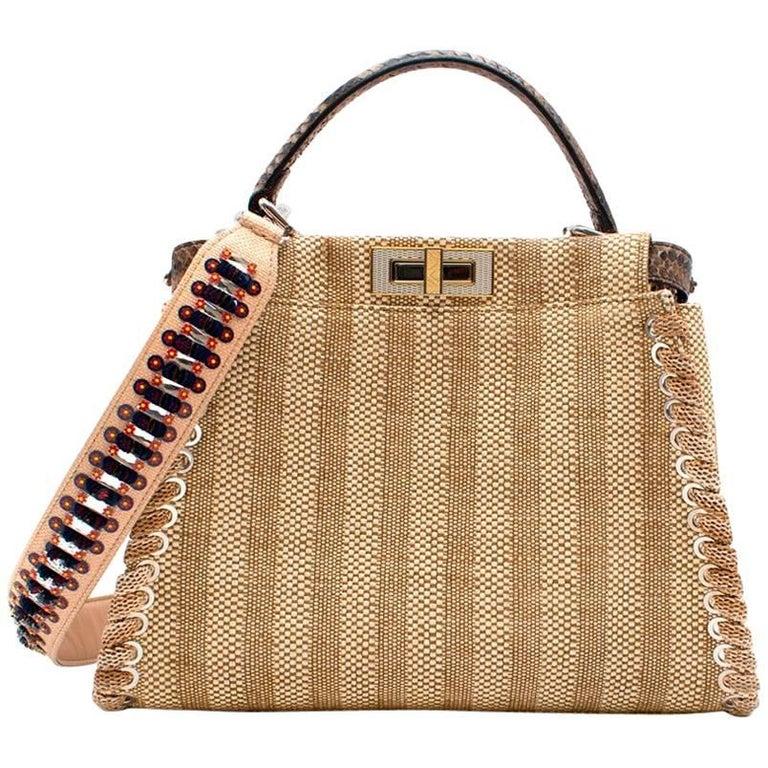 69e0da2c Fendi Peekaboo Python/Straw bag with Embellished Strap - Resort 17'