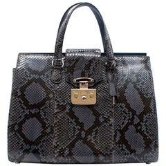 Gucci Blue and Black Python Top handle Bag