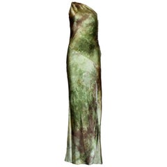 Asymmetric Christian Dior by John Galliano Silk Evening Dress Gown