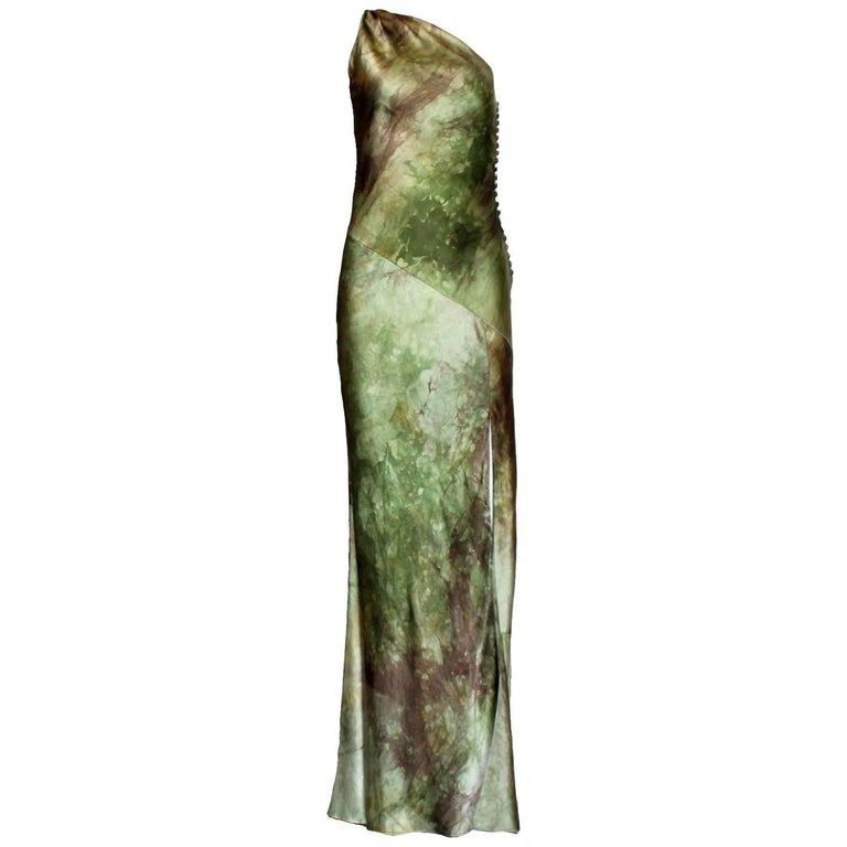 Asymmetric Christian Dior by John Galliano Silk Evening Dress Gown
