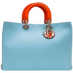 CHRISTIAN DIOR 'Lady D Dior' Bag in Blue Sky Leather and Gray Python