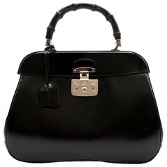 Gucci Black Leather Bag with Bamboo Handle
