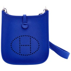 Hermes Evelyne TPM Blue Electric Shoulder Cross Body Messenger Bag