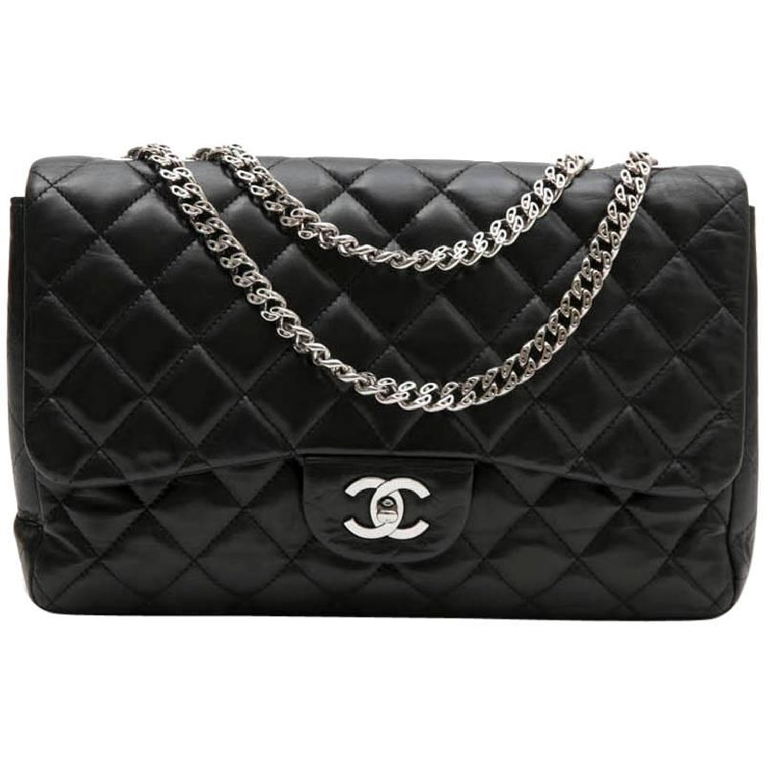 852b69ce3034 CHANEL  Jumbo  Flap Bag in Black Smooth Quilted Lambskin Leather at 1stdibs