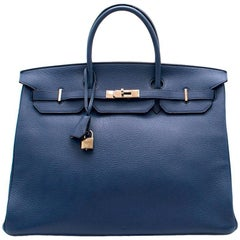 Hermes Blue De Prusse Togo Leather Birkin 40cm