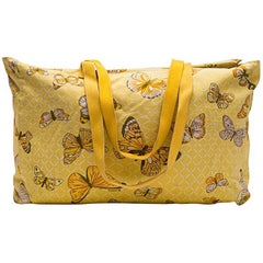 HERMES Vintage Beach Bag in Yellow Canvas With Butterflies Printed