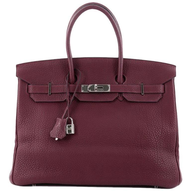 Hermes Prune Fjord with Palladium Hardware 35 Birkin Handbag