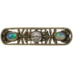 Victorian Opal Seed Pearl Saphiret Moon Face Bar Pin Brooch