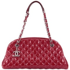 Chanel Just Mademoiselle Handbag Quilted Patent Medium