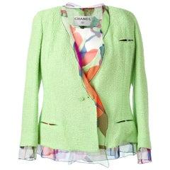 Chanel Green Silk-Cotton Three-piece Vintage Suit, 1990s