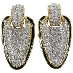 1980s Daniel Swarovski Crystal Encrusted Dangle Clip on Earrings New, Never worn