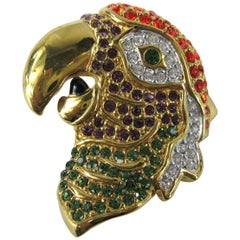 1980s Daniel Swarovski Crystal Encrusted Parrot Head Brooch Pin New, Never Worn