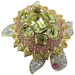 1980s Daniel Swarovski Crystal Encrusted Turtle Brooch Pin New, Never worn