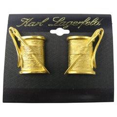 "1990s  Karl Lagerfeld Earrings ""Needle & Thread"" New, never worn"