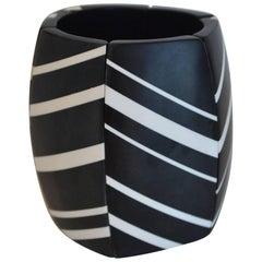 Monies Black and White Stripe Wood Bracelet