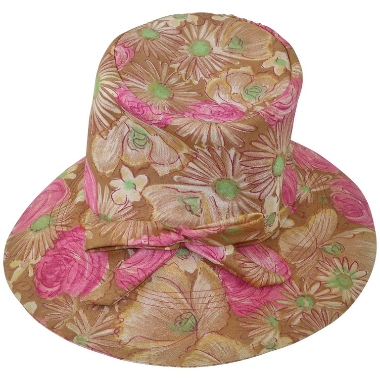 Claire Ann Floral Floppy Hat, 1960s   For Sale