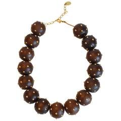 Vanda Jacintho Brazilian Walnut and Brass Ball Necklace