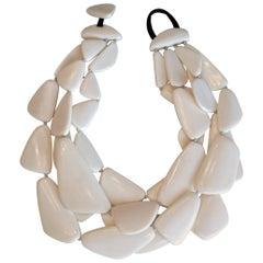 Monies White Horn Layered Statement Necklace