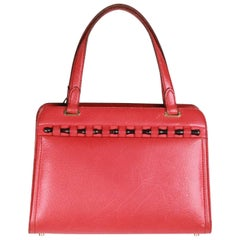 GUCCI VINTAGE Red Leather HANDBAG w/ BAMBOO Detail RARE