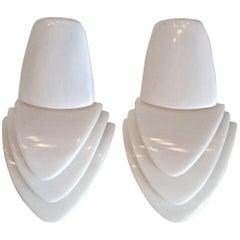 Monies White Horn Clip Earrings