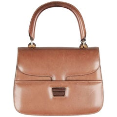 GUCCI VINTAGE Tan Leather HANDBAG w/ WOOD Detail