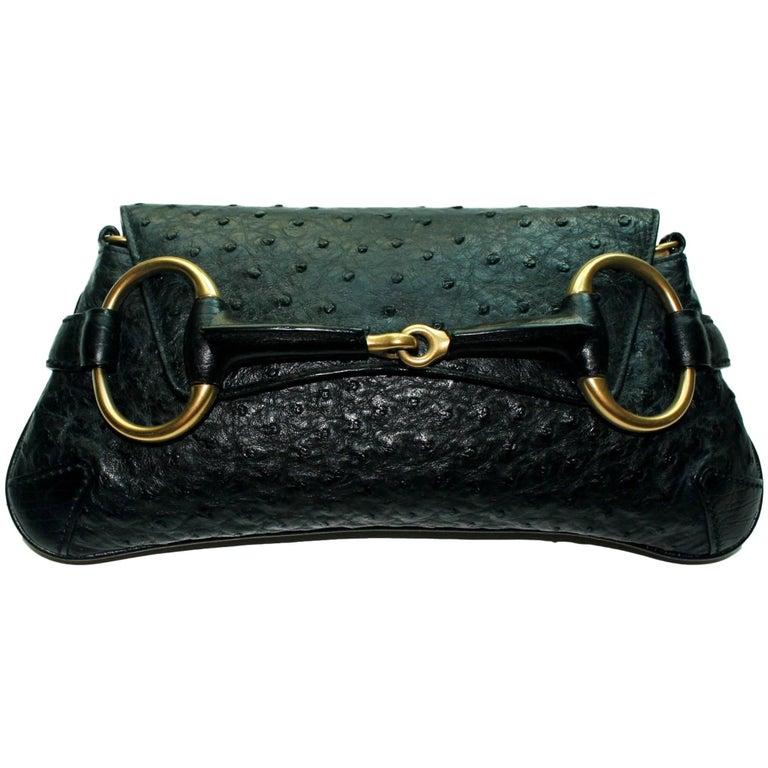 Gucci Ostrich Skin Horsebit Flap Bag