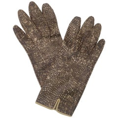 Alligator Printed Brown Fabric Gloves, 1960s