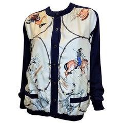 Hermes vintage equestrian cardigan sweater  J De Fougerolle