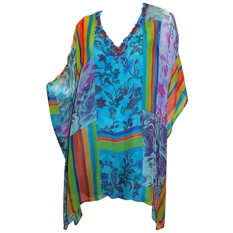 Camilla Multi color beaded silk caftan