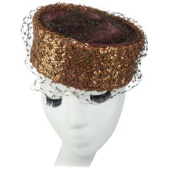 Copper Sequin Brown Satin Pillbox Hat, 1950s