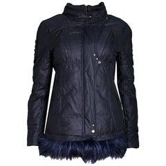 Navy Metallic Zip Jacket with Fur Trim